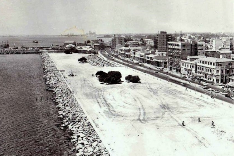 The construction of the Limassol seafront, end of '60s - beginning of '70s.