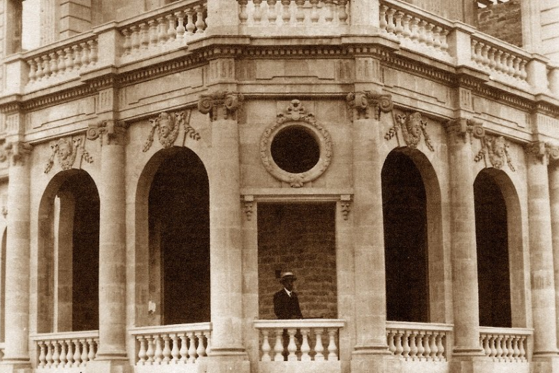 Pilavakis on the veranda of his mansion.