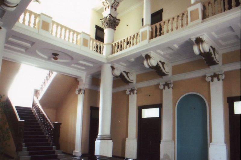 The interior of the mansion, when it was used a a library.