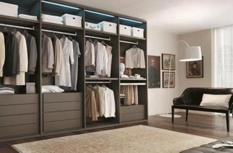 Contemporary wall-mounted walk-in wardrobe