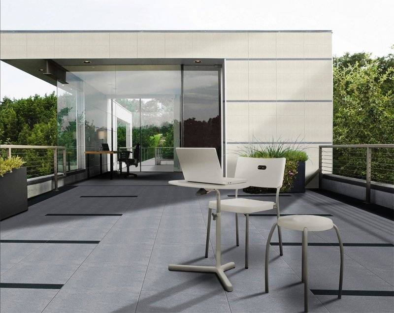 G68528 Bush hummer grey. Porcelain stone look floor tile with anti slip finish. Ideal for exterior spaces.