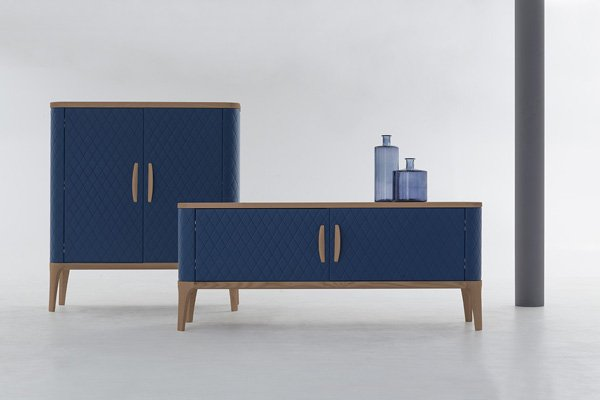 Tonin Casa sideboard covered in leather or eco leather with fancy diamond shapes