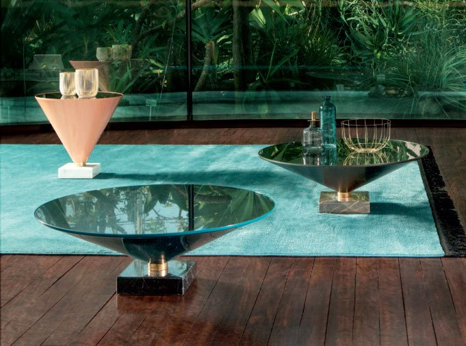 Elegant and very unique coffee table made of marble and metal, with glass top in different dimensions! Available in store