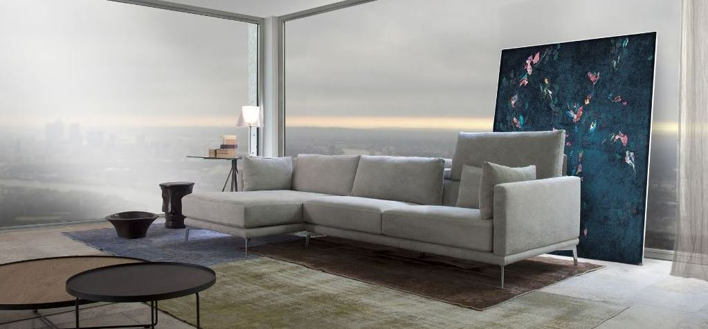 Contemporary sofa with washable removable cover in leather and fabric