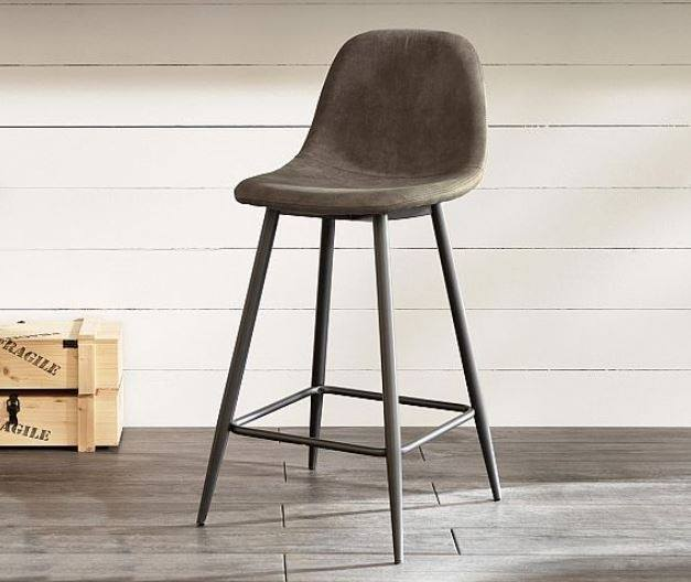 Stool with metal structure, seat and back upholstered in padded vintage leatherette