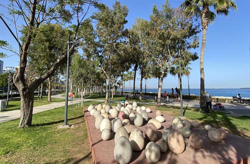 The eggs of the 'Birth' in the Limassol Sculpture Park