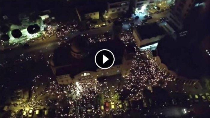 VIDEO: Hundreds of candles and a bonfire seen from Limassol's sky sure are awe inspiring!