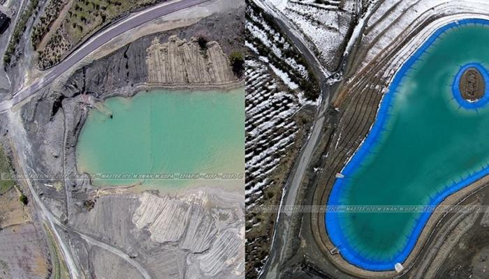 Before and after: The lake in Asbestos mine proves that it did rain a lot!