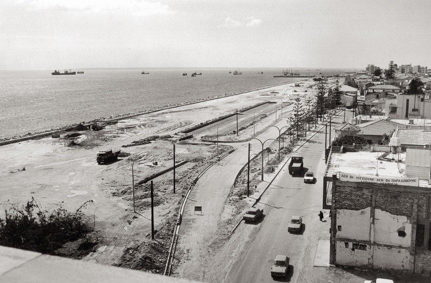 The seaside road in the 1970s.