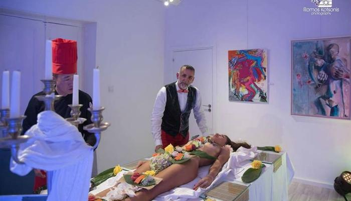Sushi on a naked body in a different exhibition for 18+ in Limassol