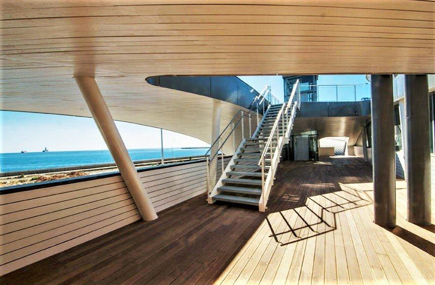 It looks like a ship's deck, but it is on Limassol's land and it will be filled with people!