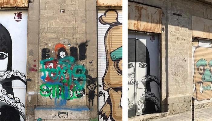VIDEO + PHOTOS: Limassol's graffiti artists cleaned the classic buildings' walls in the city center!