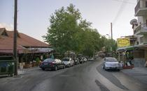 The main road with the restaurants in Platres.